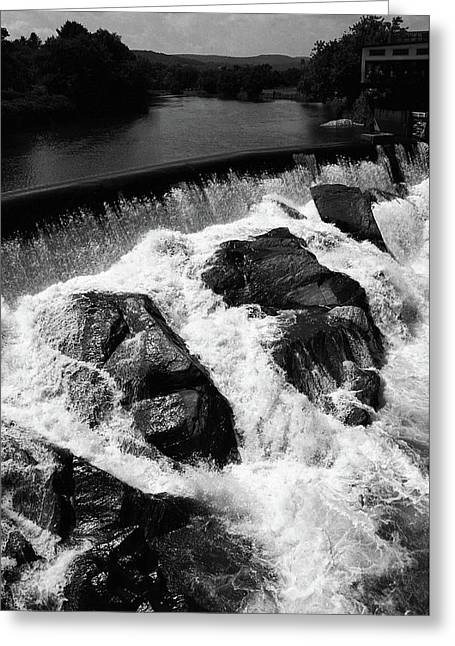 Greeting Card featuring the photograph Quechee, Vermont - Falls 2 Bw by Frank Romeo