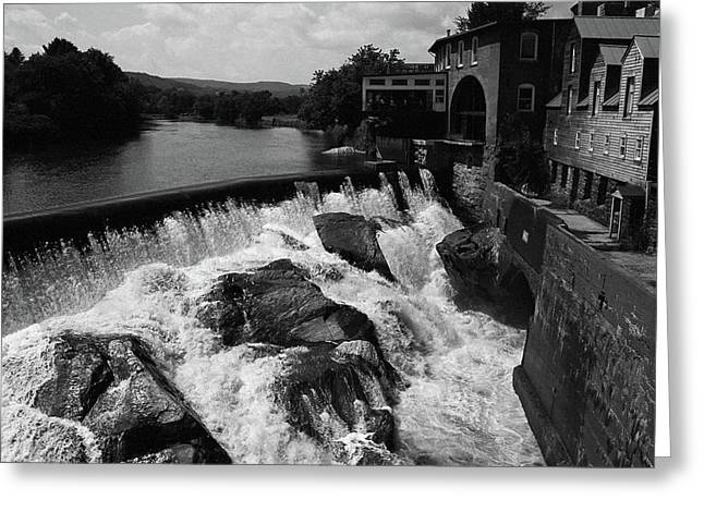 Quechee, Vermont - Falls Bw Greeting Card by Frank Romeo