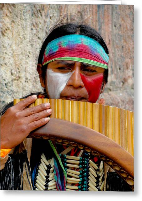 Quechuan Pan Flute Player Greeting Card by Al Bourassa