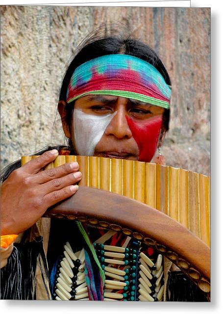 Quechuan Pan Flute Player Greeting Card