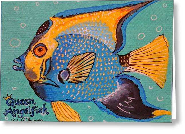 Queen Angelfish Greeting Card by Emily Reynolds Thompson