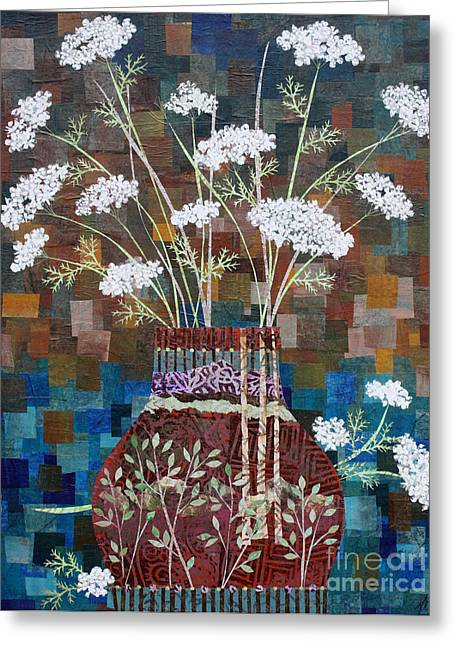 Queen Anne's Lace In Vase With Birches Greeting Card by Janyce Boynton