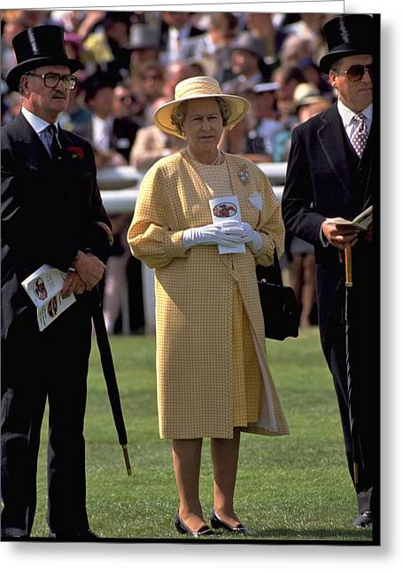 Queen Elizabeth At The Races Greeting Card