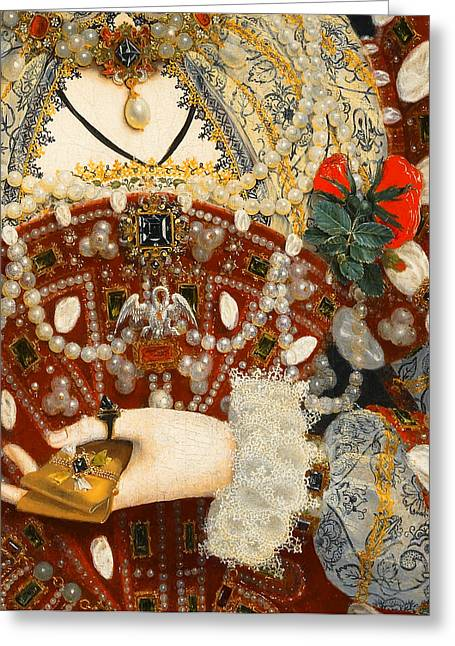 Queen Elizabeth I   Detail From The Pelican Portrait Greeting Card by Nicholas Hilliard