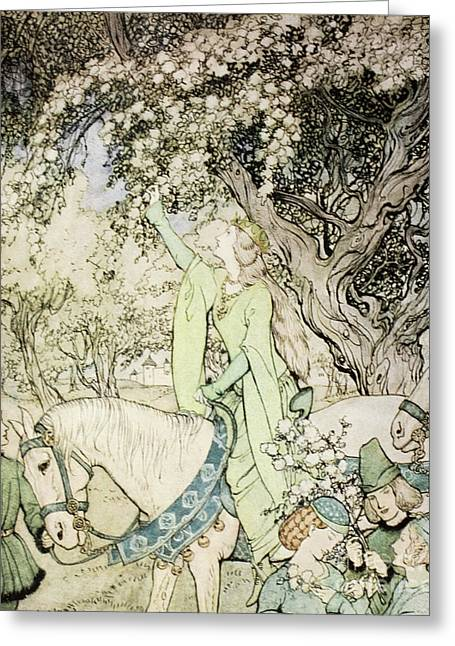 Queen Guinevere Greeting Card by Arthur Rackham