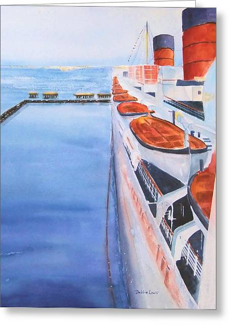 Queen Mary From The Bridge Greeting Card by Debbie Lewis