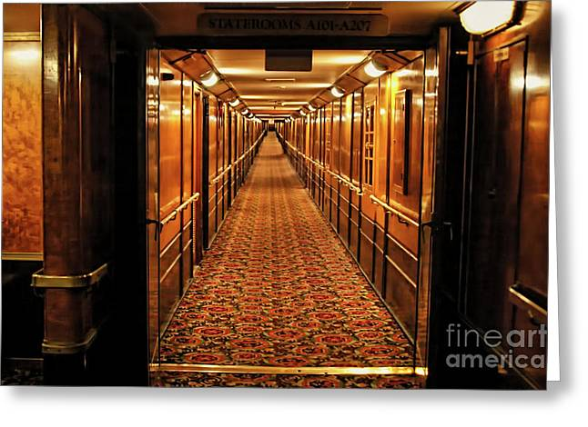 Greeting Card featuring the photograph Queen Mary Hallway by Mariola Bitner