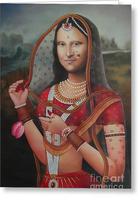 Queen Monalisa Indian Mona Lisa Handmade Painting Oil Color Canvas Artist India Greeting Card