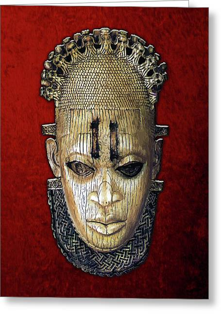 Queen Mother Idia - Ivory Hip Pendant Mask - Nigeria - Edo Peoples - Court Of Benin On Red Velvet Greeting Card