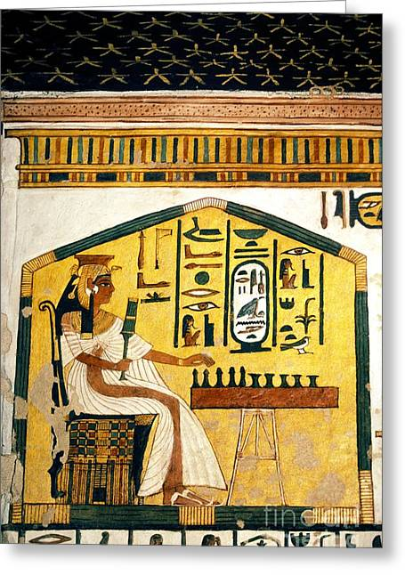 Queen Nefertari Playing Senet Greeting Card by Patrick Landmann