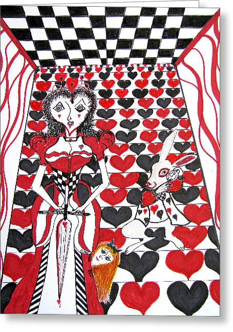 Greeting Card featuring the drawing Queen Of Hearts by Barbara Giordano