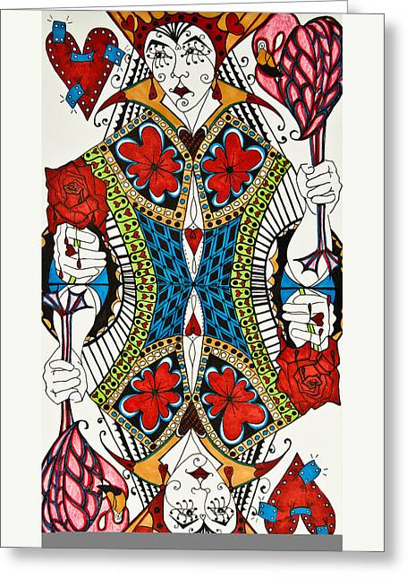 Queen Of Hearts Greeting Card by Jani Freimann