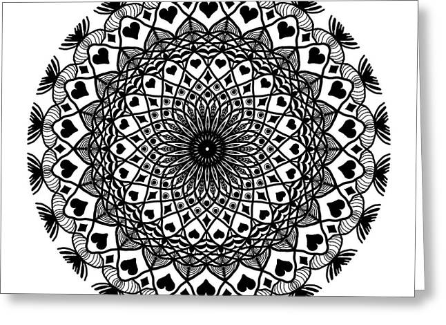 Queen Of Hearts King Of Diamonds Mandala Greeting Card