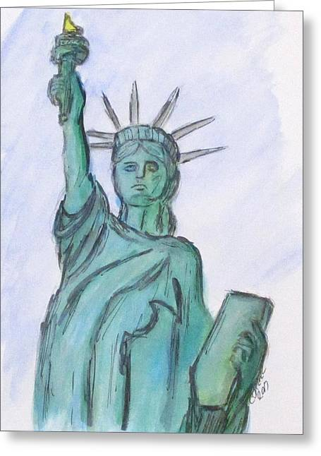 Greeting Card featuring the painting Queen Of Liberty by Clyde J Kell