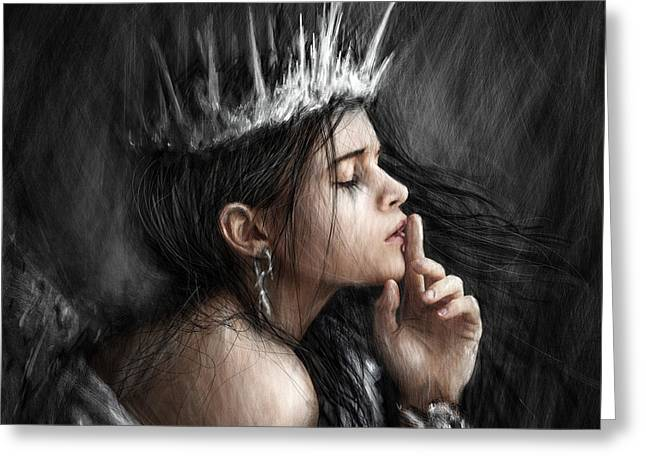 Queen Of Secrets Gothic Fantasy Portrait Painting Of A Fairy Queen Greeting Card by Justin Gedak