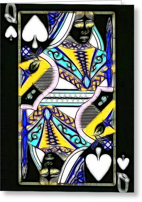 Deck Of Cards Greeting Cards - Queen of Spades - v2 Greeting Card by Wingsdomain Art and Photography
