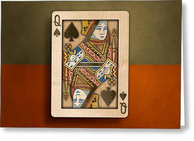 Queen Of Spades In Wood Greeting Card by YoPedro