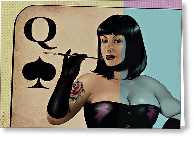 Queen Of Spades Greeting Card by Udo Linke