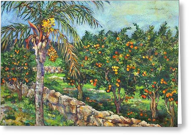 Queen Palm And Oranges Greeting Card by Lily Hymen