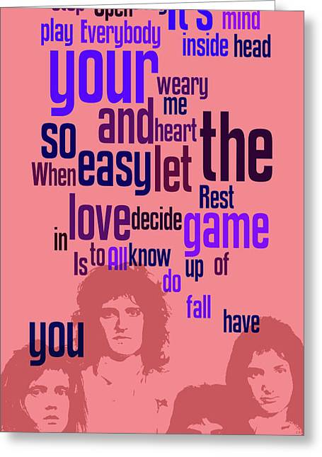 Queen. Play The Game. Can You Recognize The Song? Can You Recognize The Band? Game For Fans Greeting Card
