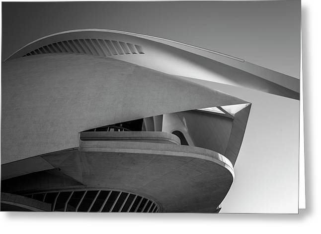 Queen Sofia Palace Of The Arts Valencia Spain Bw Greeting Card by Joan Carroll