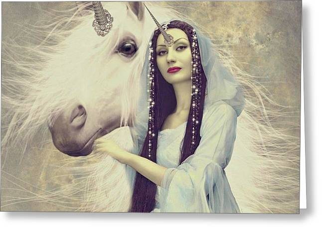 Queen Unicorn Greeting Card by Ali Oppy