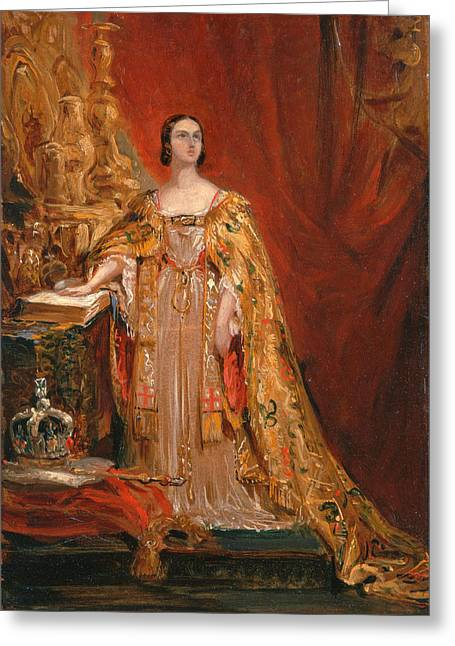 Queen Victoria Taking The Coronation Oath 28 June 1838 Greeting Card by George Hayter