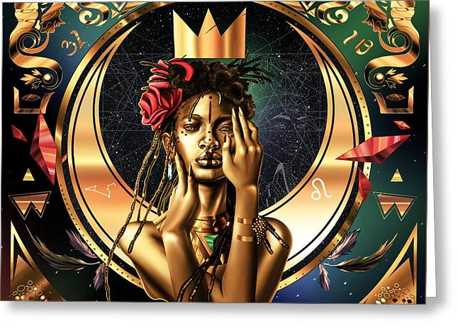 Queen Willow Illustration Of Gold Greeting Card by Kenal Louis