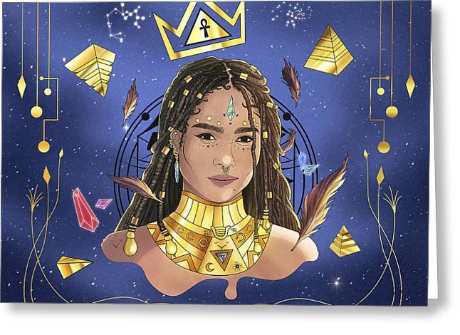 Queen Zoe Kravitz Illustration Greeting Card by Kenal Louis