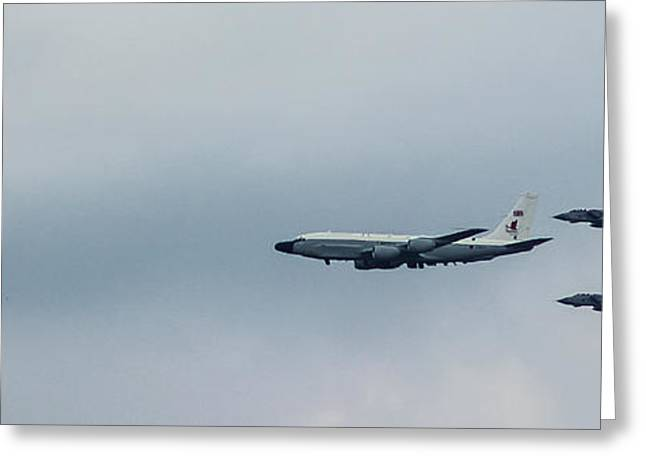 Queens Fly Past Greeting Card by Martin Newman