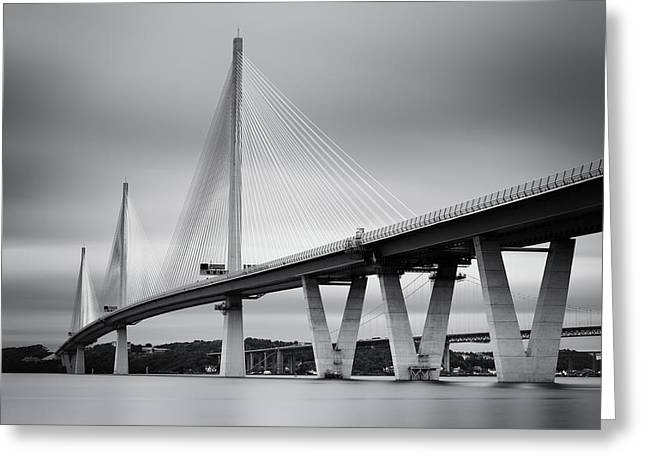 Greeting Card featuring the photograph Queensferry Crossing Bridge Mono 1 by Grant Glendinning