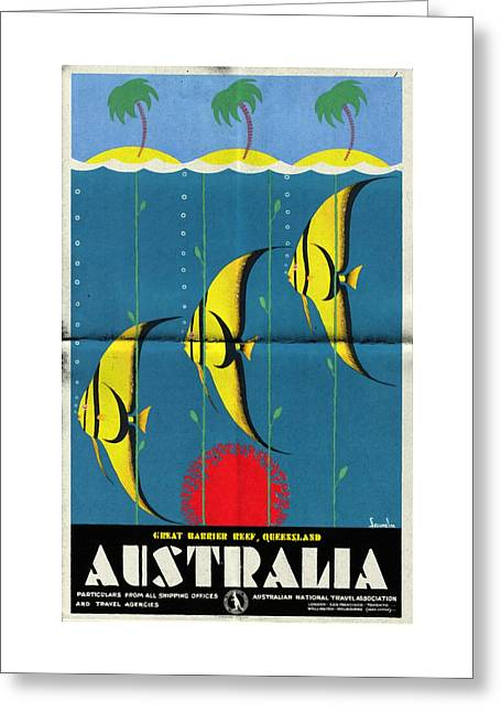 Queensland Great Barrier Reef - Vintage Poster Folded Greeting Card