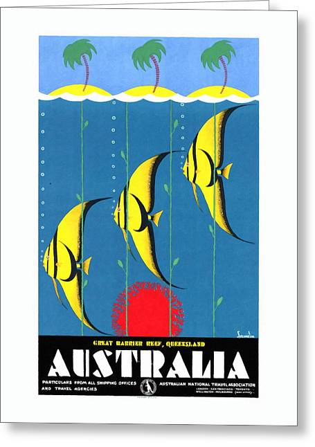 Queensland Great Barrier Reef - Restored Vintage Poster Greeting Card