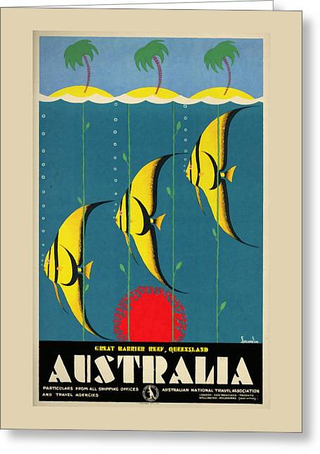 Queensland Great Barrier Reef - Vintage Poster Vintagelized Greeting Card