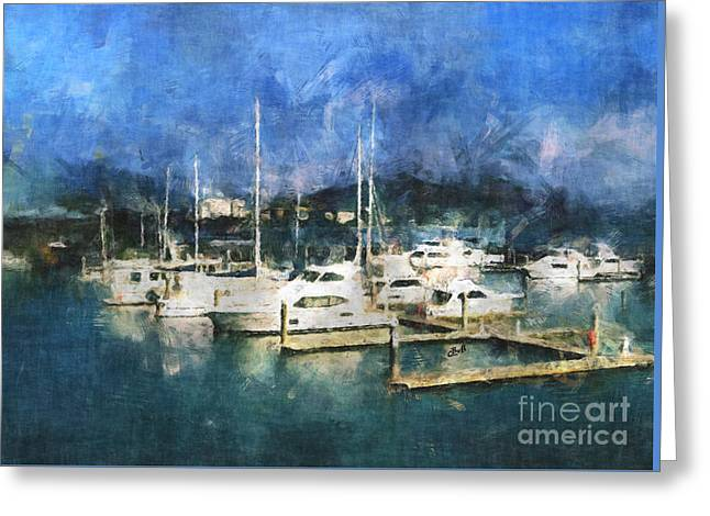 Queensland Marina Greeting Card by Claire Bull