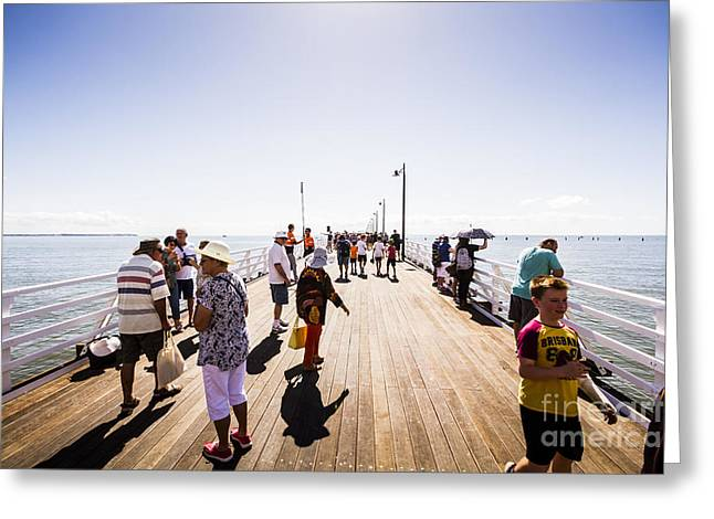 Queenslanders Walking On The New Shorncliffe Pier Greeting Card