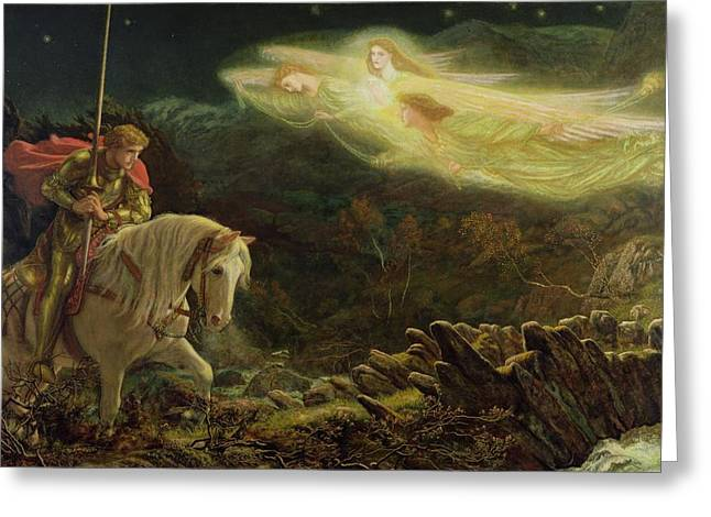 Grail Greeting Cards - Quest for the Holy Grail Greeting Card by Arthur Hughes