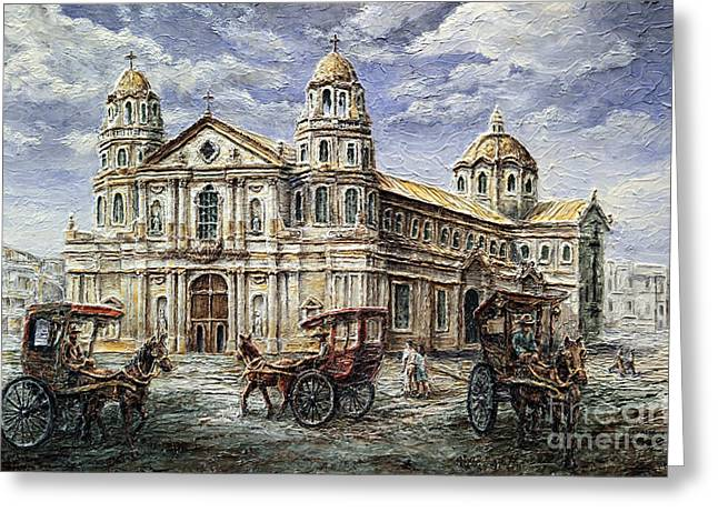 Greeting Card featuring the painting Quiapo Church 1900s by Joey Agbayani