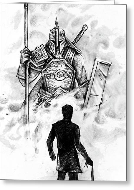 Quick Sketch - David And Goliath Greeting Card