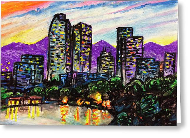 Greeting Card featuring the painting Quick Sketch - Denver by Aaron Spong
