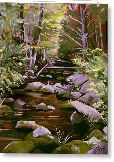 Babbling Paintings Greeting Cards - Quiet Brook Greeting Card by Nancy Griswold
