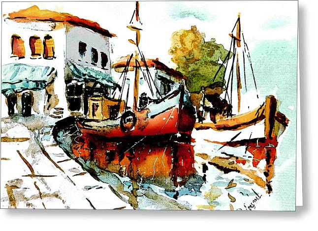 Loose Greeting Cards - Quiet corner on the Med Greeting Card by Steven Ponsford