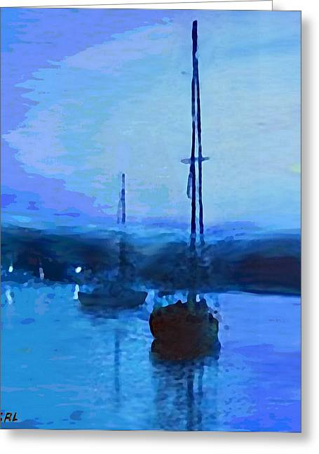 Quiet Evening Maryland Chesapeake Bay Detail Multimedia Fine Art Painting Greeting Card by G Linsenmayer