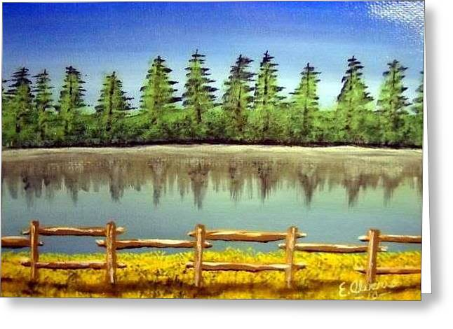 Greeting Card featuring the painting Quiet Lake by Edwin Alverio