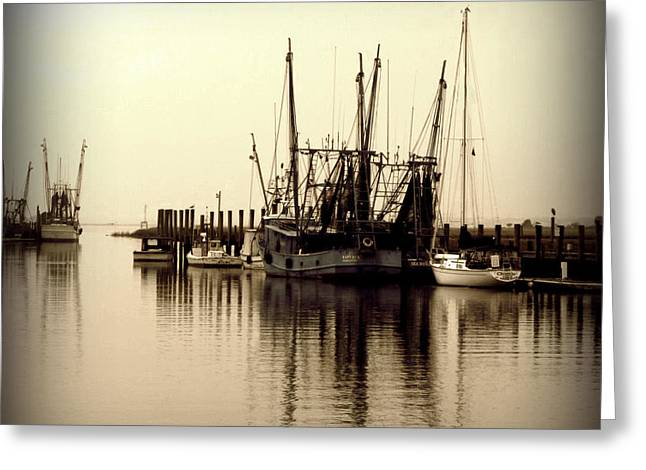 Shem Creek.sepia Greeting Cards - Quiet Morning on Shem Creek Greeting Card by Jill Tennison
