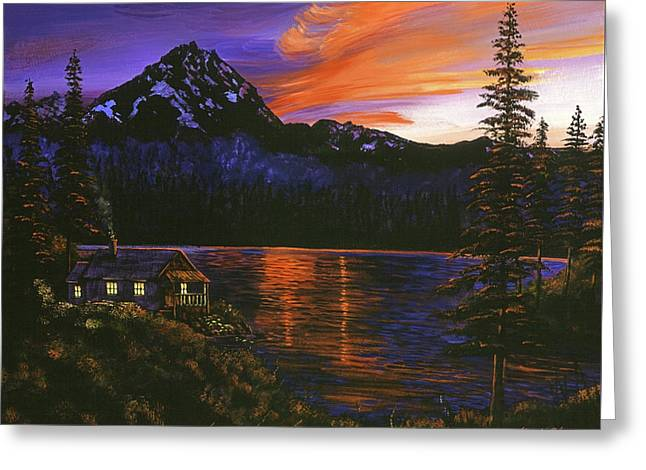 Quiet Night Greeting Card by David Lloyd Glover