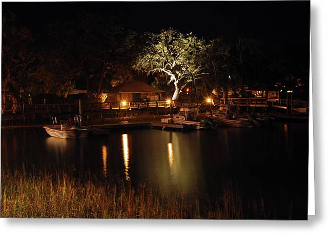 Quiet Night In Harbor Greeting Card by Kay Lovingood