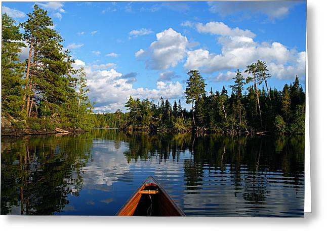 Lake Photography Greeting Cards - Quiet Paddle Greeting Card by Larry Ricker