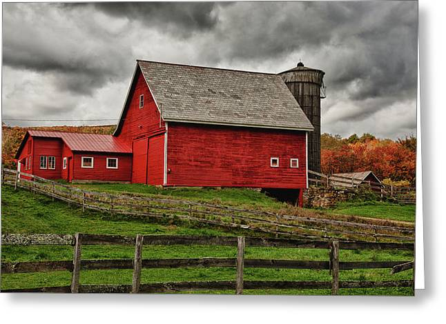 Quiet Red Barn In Vermont Fall Foliage Greeting Card by Jeff Folger