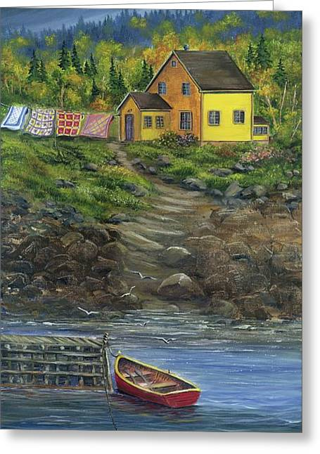 Quilt Day - Newfoundland Greeting Card by Kimberly Ropson